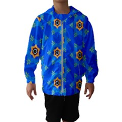 Pattern Backgrounds Blue Star Kids  Hooded Windbreaker