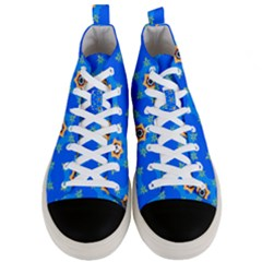Pattern Backgrounds Blue Star Men s Mid Top Canvas Sneakers
