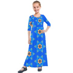 Pattern Backgrounds Blue Star Kids  Quarter Sleeve Maxi Dress by HermanTelo