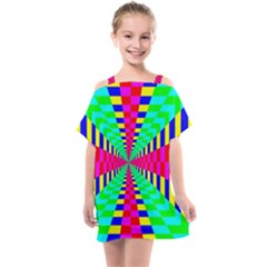 Maze Rainbow Vortex Kids  One Piece Chiffon Dress by HermanTelo