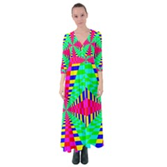 Maze Rainbow Vortex Button Up Maxi Dress
