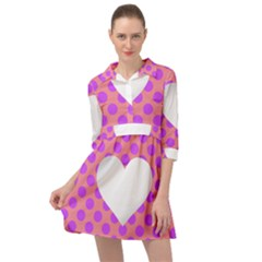Love Heart Valentine Mini Skater Shirt Dress