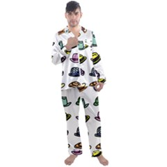 Hat Dress Elegance Men s Satin Pajamas Long Pants Set