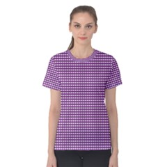 Gingham Plaid Fabric Pattern Purple Women s Cotton Tee