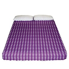 Gingham Plaid Fabric Pattern Purple Fitted Sheet (queen Size)