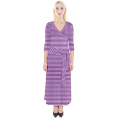 Gingham Plaid Fabric Pattern Purple Quarter Sleeve Wrap Maxi Dress by HermanTelo