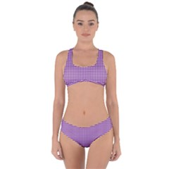 Gingham Plaid Fabric Pattern Purple Criss Cross Bikini Set