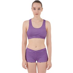 Gingham Plaid Fabric Pattern Purple Work It Out Gym Set by HermanTelo