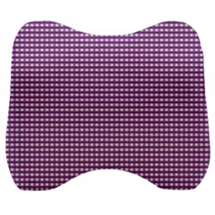 Gingham Plaid Fabric Pattern Purple Velour Head Support Cushion