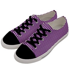 Gingham Plaid Fabric Pattern Purple Men s Low Top Canvas Sneakers by HermanTelo