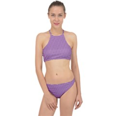Gingham Plaid Fabric Pattern Purple Racer Front Bikini Set