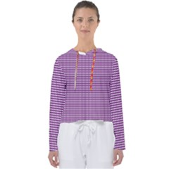 Gingham Plaid Fabric Pattern Purple Women s Slouchy Sweat by HermanTelo