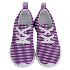 Gingham Plaid Fabric Pattern Purple Running Shoes by HermanTelo