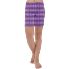 Gingham Plaid Fabric Pattern Purple Kids  Lightweight Velour Capri Yoga Leggings by HermanTelo