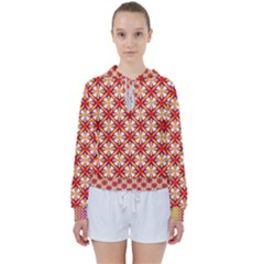 Hexagon Polygon Colorful Prismatic Women s Tie Up Sweat by HermanTelo