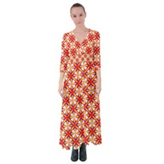 Hexagon Polygon Colorful Prismatic Button Up Maxi Dress