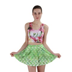 Green Pattern Curved Puzzle Mini Skirt