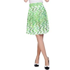 Green Pattern Curved Puzzle A-line Skirt