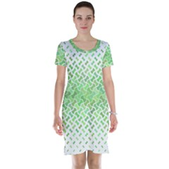 Green Pattern Curved Puzzle Short Sleeve Nightdress by HermanTelo
