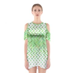 Green Pattern Curved Puzzle Shoulder Cutout One Piece Dress