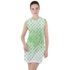 Green Pattern Curved Puzzle Drawstring Hooded Dress