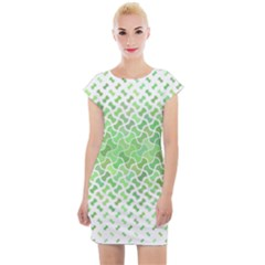 Green Pattern Curved Puzzle Cap Sleeve Bodycon Dress