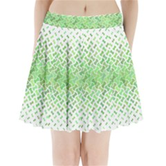 Green Pattern Curved Puzzle Pleated Mini Skirt