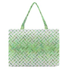 Green Pattern Curved Puzzle Zipper Medium Tote Bag by HermanTelo