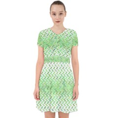 Green Pattern Curved Puzzle Adorable In Chiffon Dress