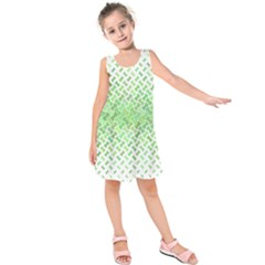 Green Pattern Curved Puzzle Kids  Sleeveless Dress by HermanTelo