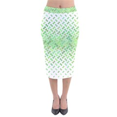 Green Pattern Curved Puzzle Velvet Midi Pencil Skirt