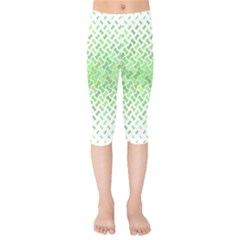 Green Pattern Curved Puzzle Kids  Capri Leggings  by HermanTelo