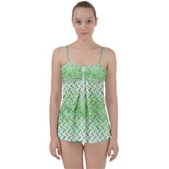 Green Pattern Curved Puzzle Babydoll Tankini Set