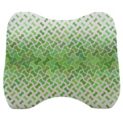Green Pattern Curved Puzzle Velour Head Support Cushion
