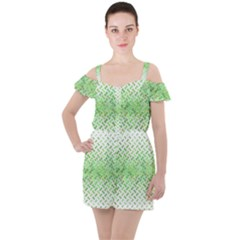 Green Pattern Curved Puzzle Ruffle Cut Out Chiffon Playsuit