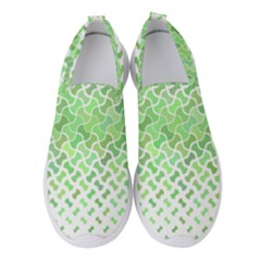 Green Pattern Curved Puzzle Women s Slip On Sneakers by HermanTelo