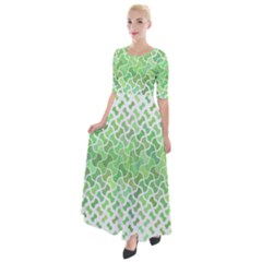 Green Pattern Curved Puzzle Half Sleeves Maxi Dress by HermanTelo