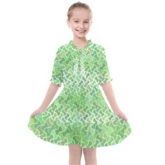 Green Pattern Curved Puzzle Kids  All Frills Chiffon Dress
