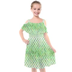 Green Pattern Curved Puzzle Kids  Cut Out Shoulders Chiffon Dress