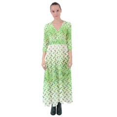 Green Pattern Curved Puzzle Button Up Maxi Dress