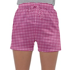 Gingham Plaid Fabric Pattern Pink Sleepwear Shorts by HermanTelo