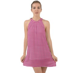 Gingham Plaid Fabric Pattern Pink Halter Tie Back Chiffon Dress
