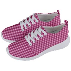 Gingham Plaid Fabric Pattern Pink Men s Lightweight Sports Shoes by HermanTelo