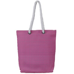 Gingham Plaid Fabric Pattern Pink Full Print Rope Handle Tote (small)