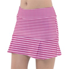 Gingham Plaid Fabric Pattern Pink Tennis Skirt