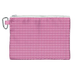 Gingham Plaid Fabric Pattern Pink Canvas Cosmetic Bag (xl)