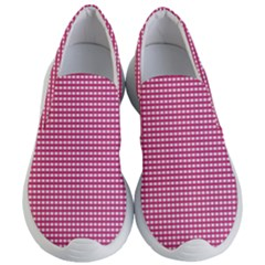 Gingham Plaid Fabric Pattern Pink Women s Lightweight Slip Ons by HermanTelo