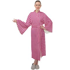 Gingham Plaid Fabric Pattern Pink Maxi Tie Front Velour Kimono by HermanTelo