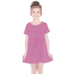 Gingham Plaid Fabric Pattern Pink Kids  Simple Cotton Dress