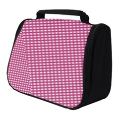 Gingham Plaid Fabric Pattern Pink Full Print Travel Pouch (small) by HermanTelo
